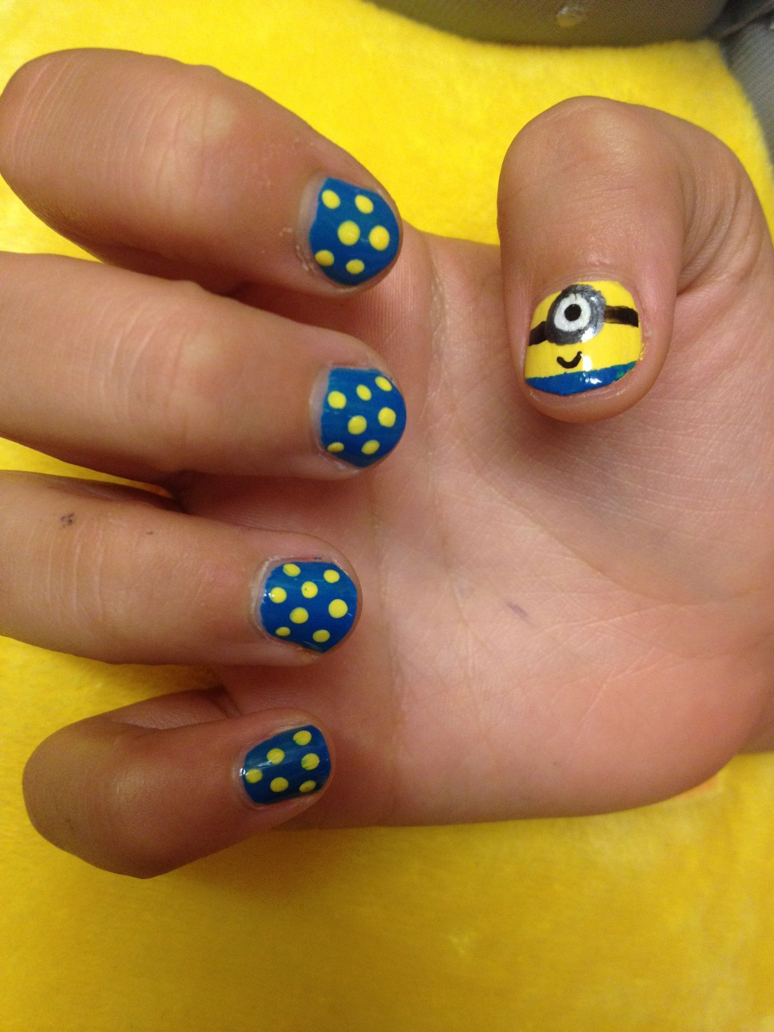 Despicable Me Disco Minion Nails by Hardcore Muffins | Nail Art ...