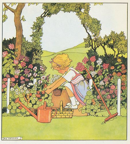 Rie Cramer Het jaar rond editie 1978 il Toosjes tuintje