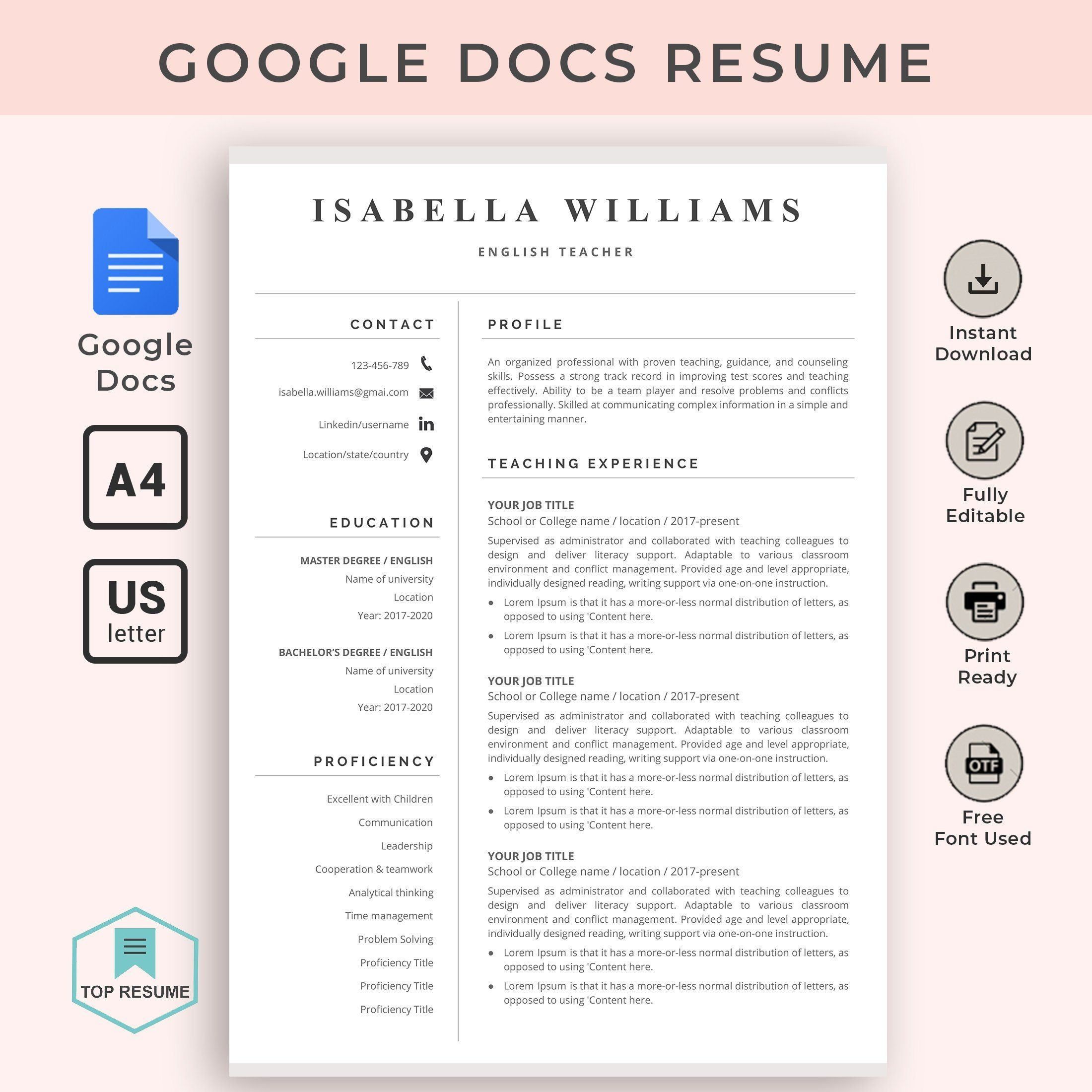 Google Docs Resume Google Docs Resume Template Teacher Resume Template Instant Download Cv Resume Cv Template Word Teacher Resume Template Resume Template