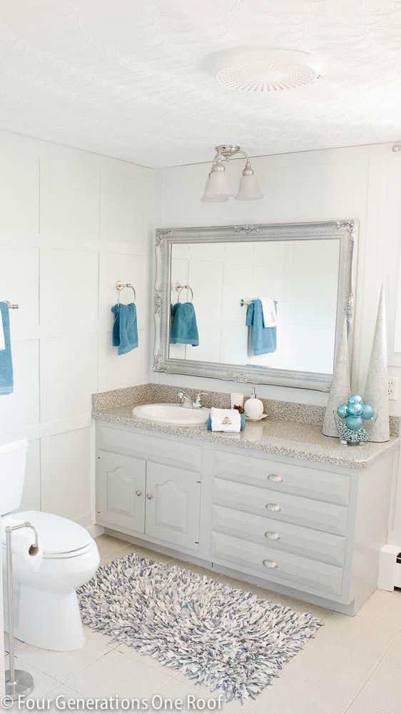Blue Bathroom Christmas Update + Bluetooth Fan That Streams Music