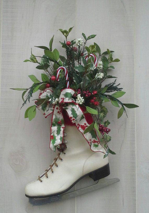 Christmas decor, Decorated Ice Skate, Christmas Ice skate , Wreath, Wall decor, Christmas arrangement, Door decor