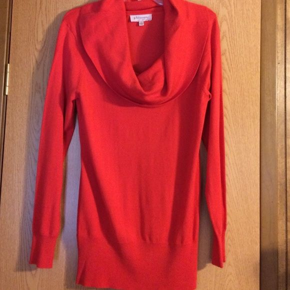 Dressy oversized red sweater Bright red sweater, stretchy material. Oversized with big scoop neck brand new. No rips, tears, or stains. Great for the holiday season Philosophy Sweaters Crew & Scoop Necks