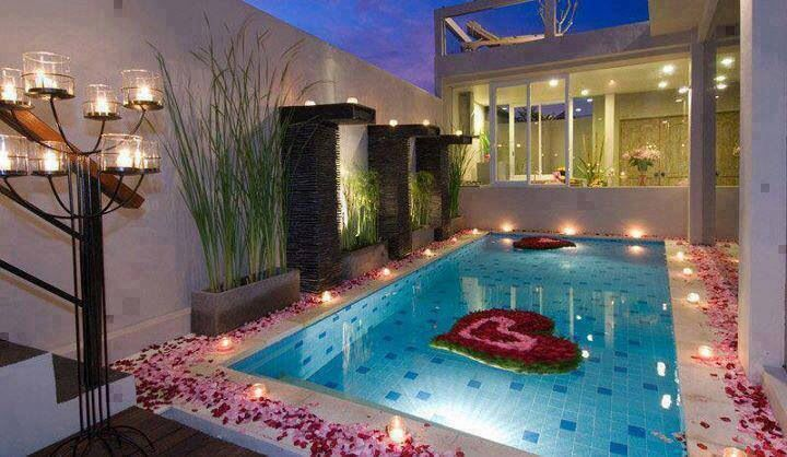 Romantic Pool Setting Rose Petals And Candles Sooooo Romantic
