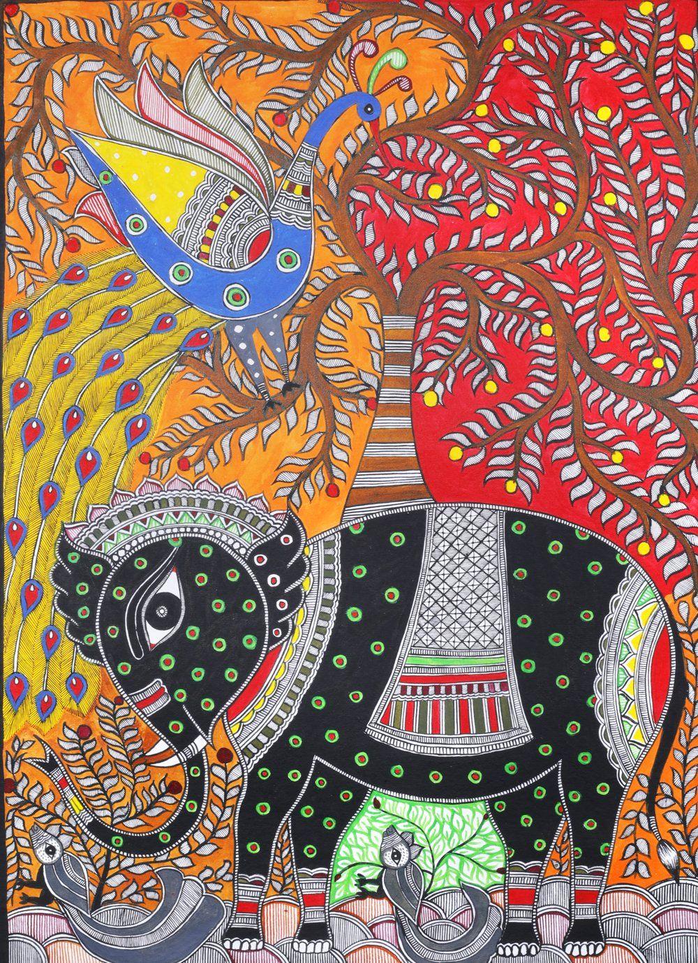 Elephant And Peacock With Tree Of Life Madhubani Painting Tribal Art Drawings Madhubani Art