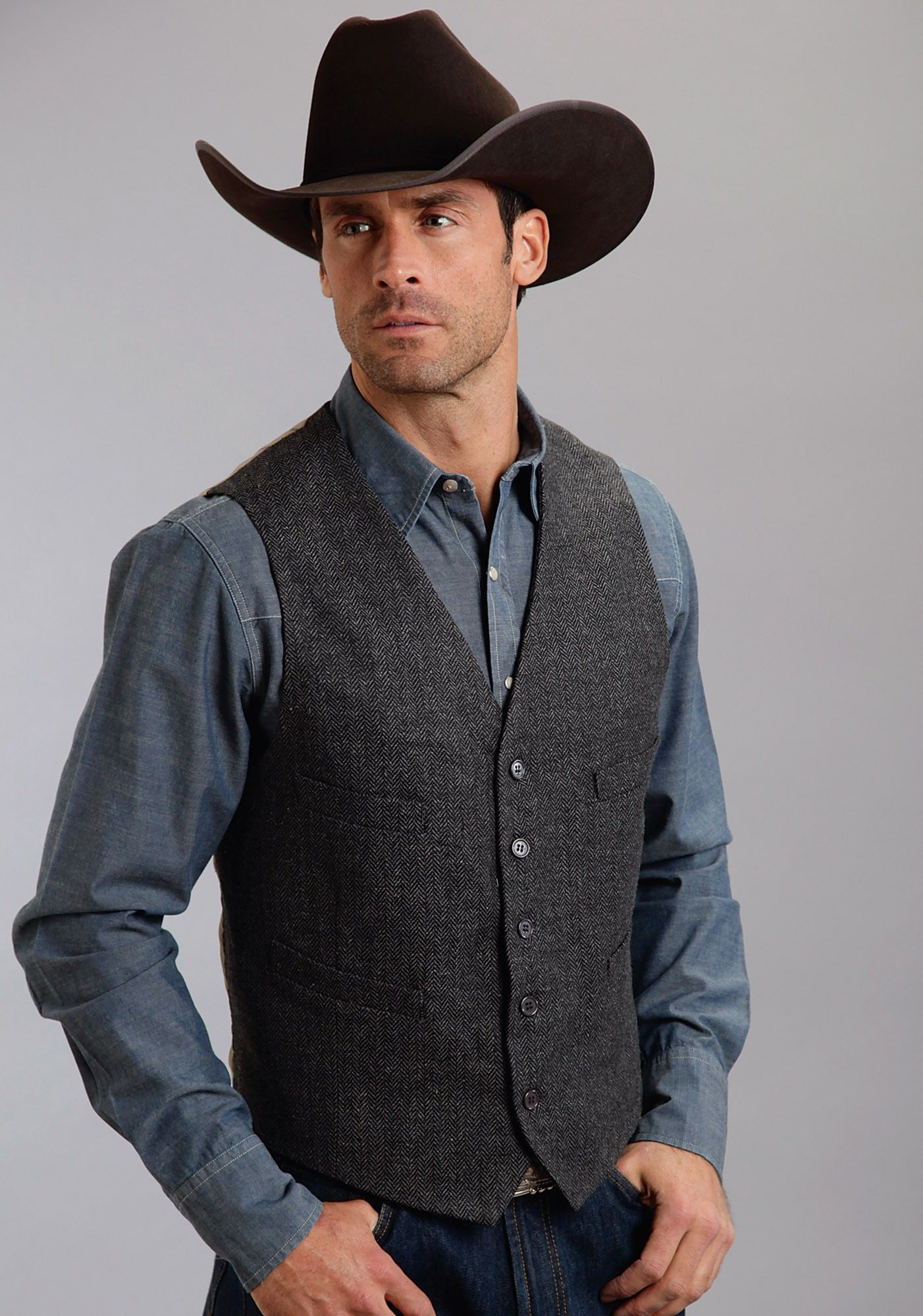 Mens Western Vest El Jefe From Stetson This Grey Herringbone Wool Blend Is Fully Lined With Four Front Welt Pockets And A Size Adjuster On The
