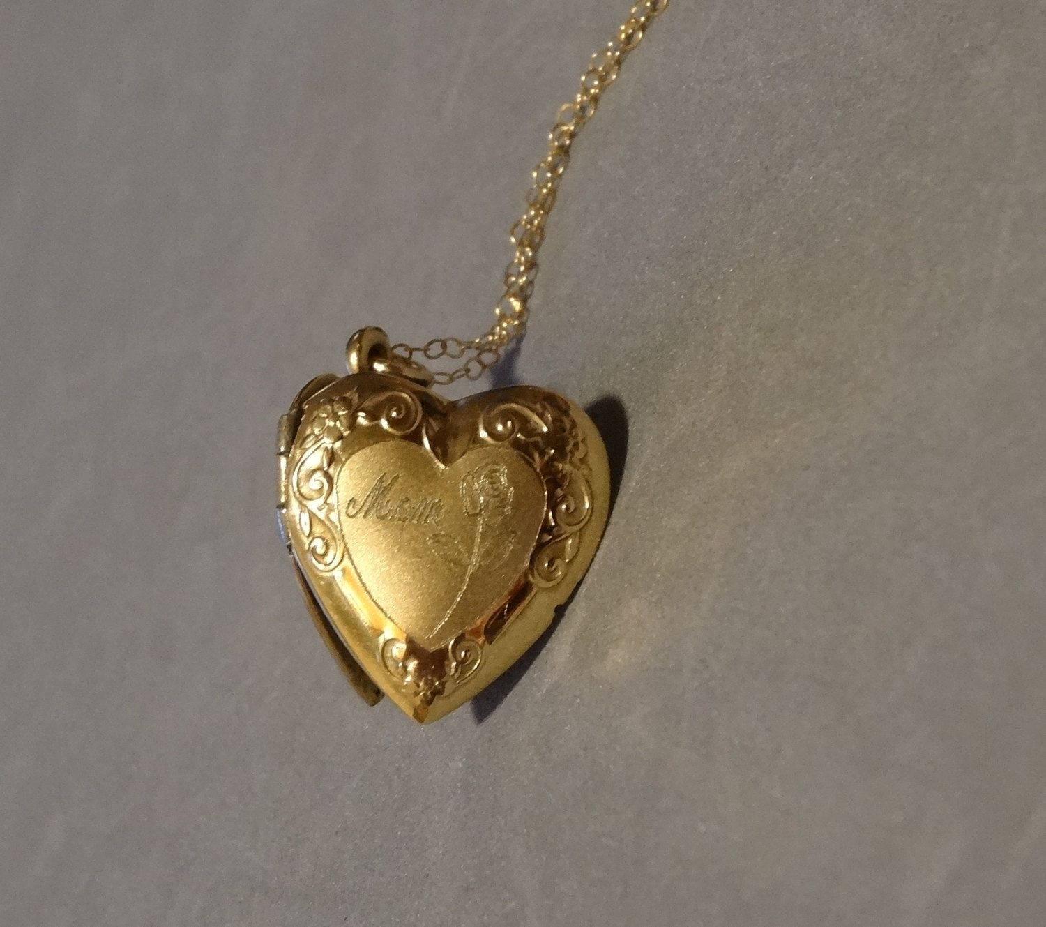Vintage mom gold heart locket necklace w rose 14k gold filled etsy your place to buy and sell all things handmade aloadofball Choice Image