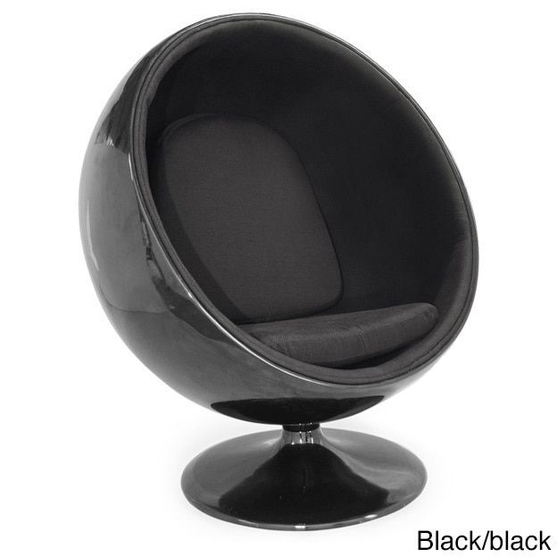 Charmant Kardiel Modern Ball Chair, Fiberglass/Fabric Midcentury Modern (Black/Black  Fabric)