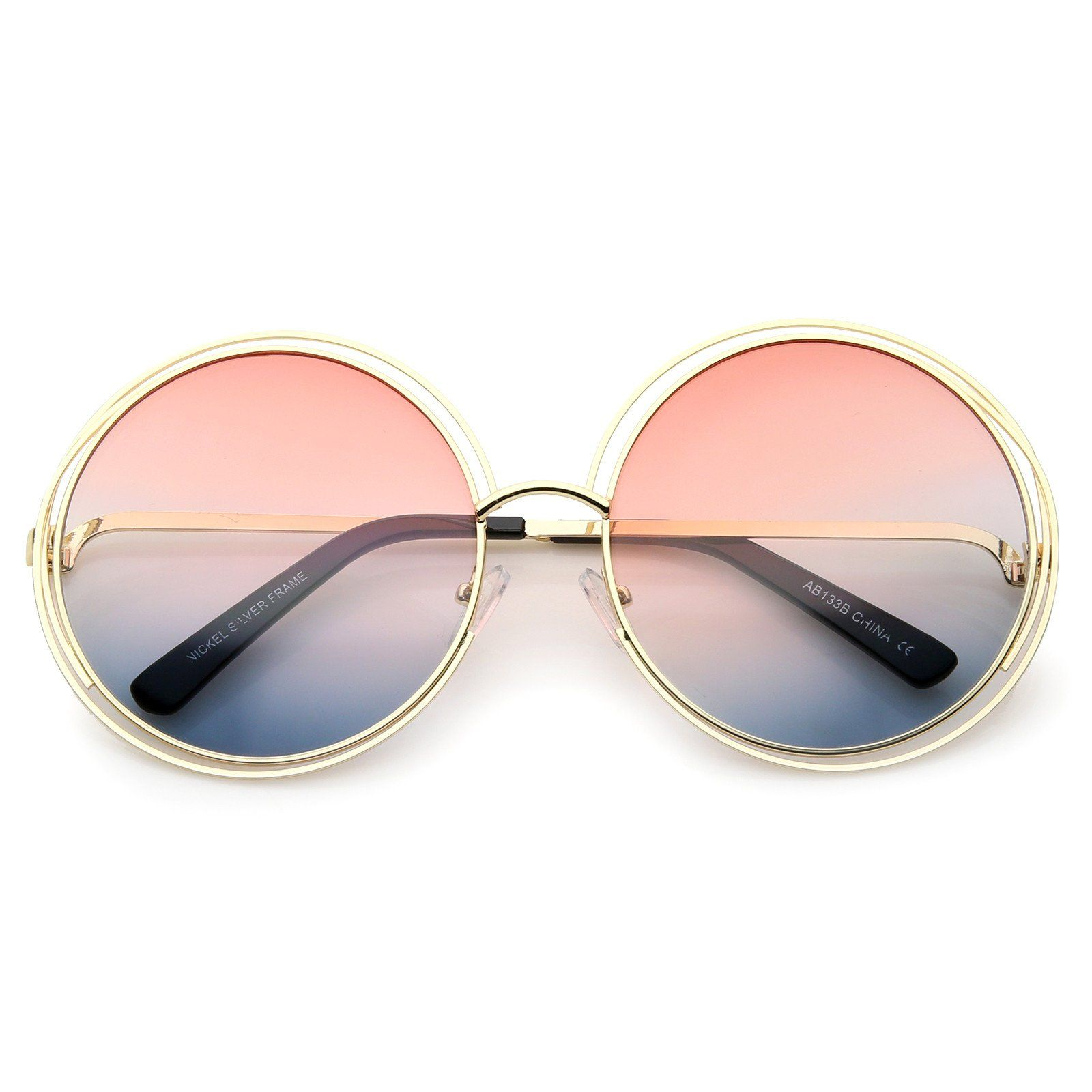 b15bcf7d2026 Oversize Wire Frame Gradient Two-Tone Color Lens Round Sunglasses 61mm