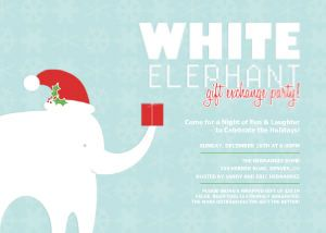 white elephant party | holiday parties, holiday and holiday party, Party invitations