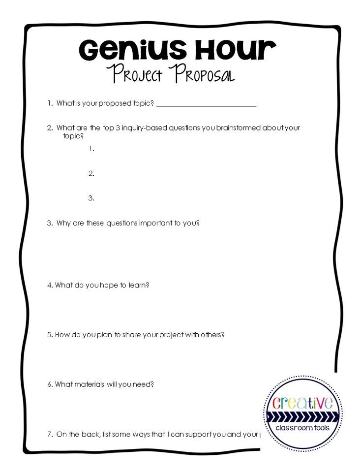 FREE download - GENIUS HOUR project proposal Teaching GATE - project proposals