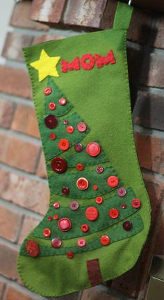 Christmas Tree Christmas Stocking Felt Pattern Instant Download // Holiday Template