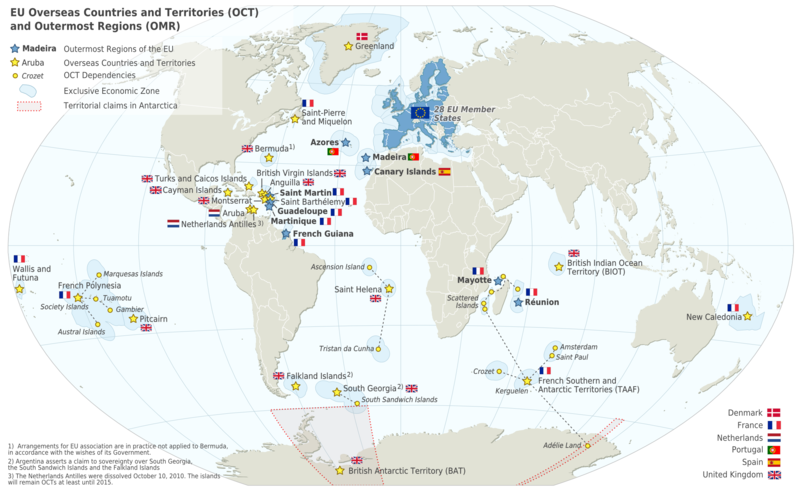 Map of the european union in the world with overseas countries and map of the european union in the world with overseas countries and territories and outermost regions gumiabroncs Gallery