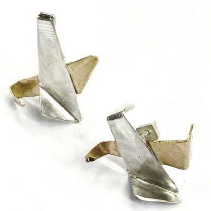 Twin Flames Brass and Sterling Silver Earrings TFE002 by Votive