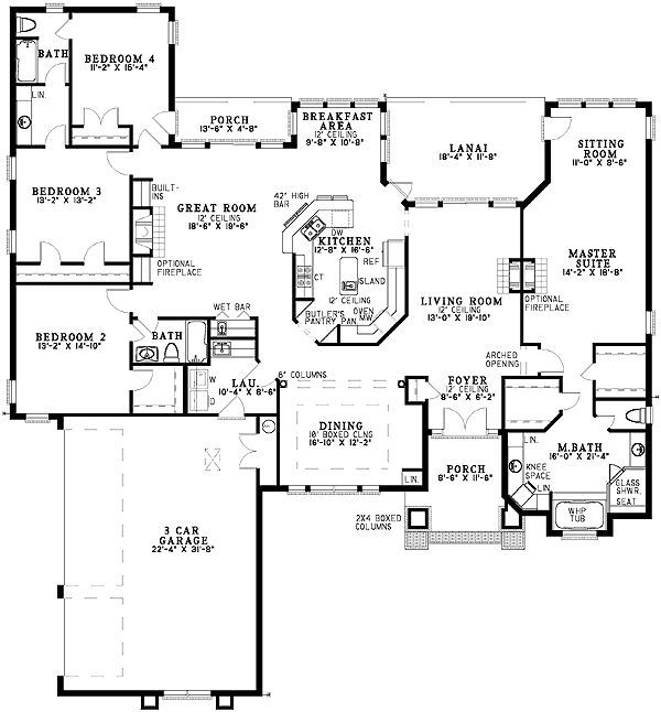 Plan 59128nd sprawling four bedroom sitting area ranch for Sprawling ranch floor plans