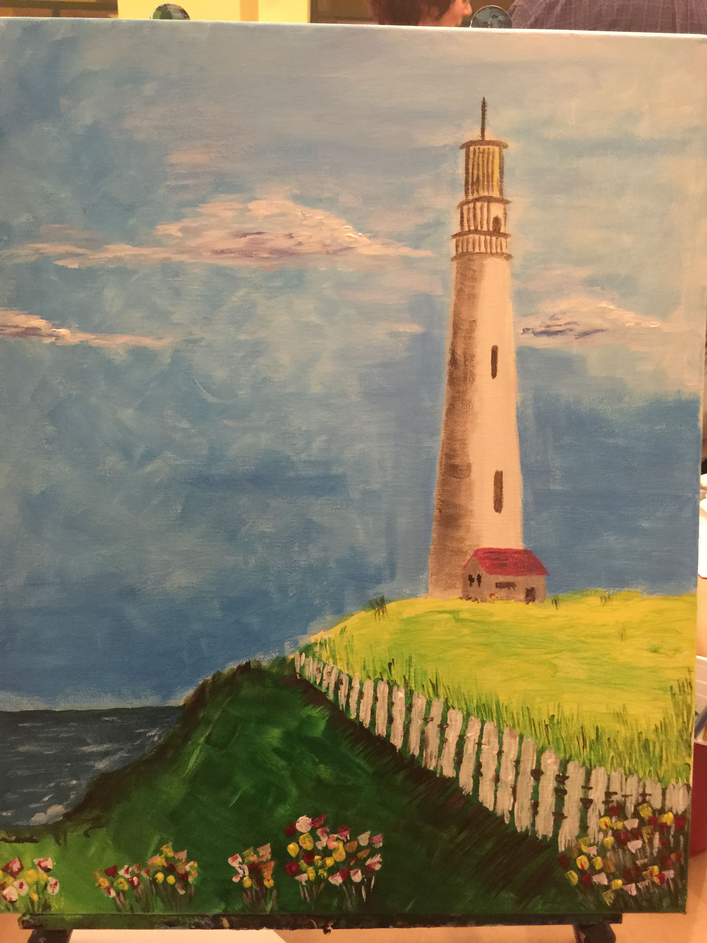 Pigeon Point Lighthouse Acrylic on canvas (16x20) Art Social class produced a very nice landscape/seascape of a local landmark.  A nice painting overall with some good color and perspective.
