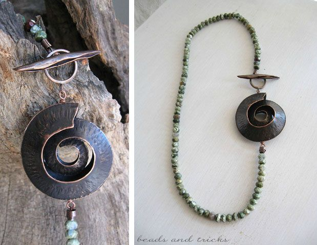 Necklace: fold forming nautilus, a forged spiculum and jasper rondelles  | Handmade by Beads and Tricks
