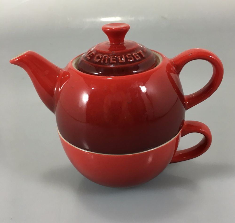 Le Creuset Cherry Red Tea For One Teapot Cup Set Stoneware Lecreuset