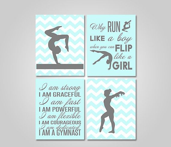 Teen Girl Wall Art prints or canvas or printable digital download - gymnastics wall