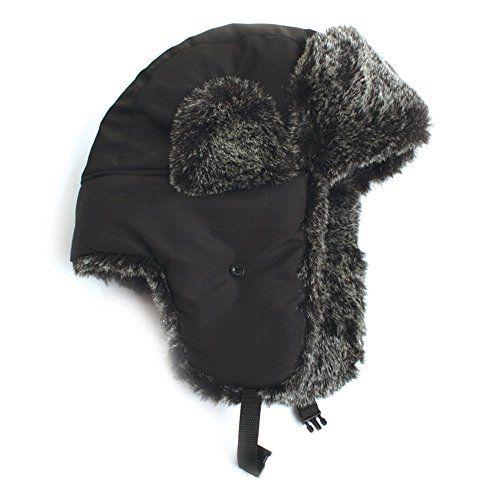City Hunter Trapper Bomber Cap Hat w  Faux Fur (Black) City Hunter http 3fd92974e7d
