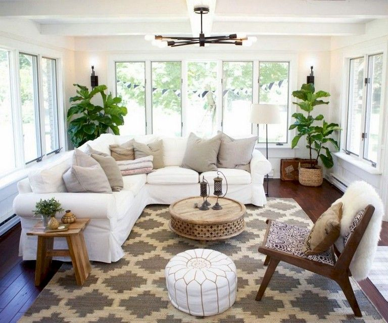 60 Comfy Farmhouse Sunroom Makeover Decor Ideas Livingroom Layout Relaxation Room Neutral Living Room