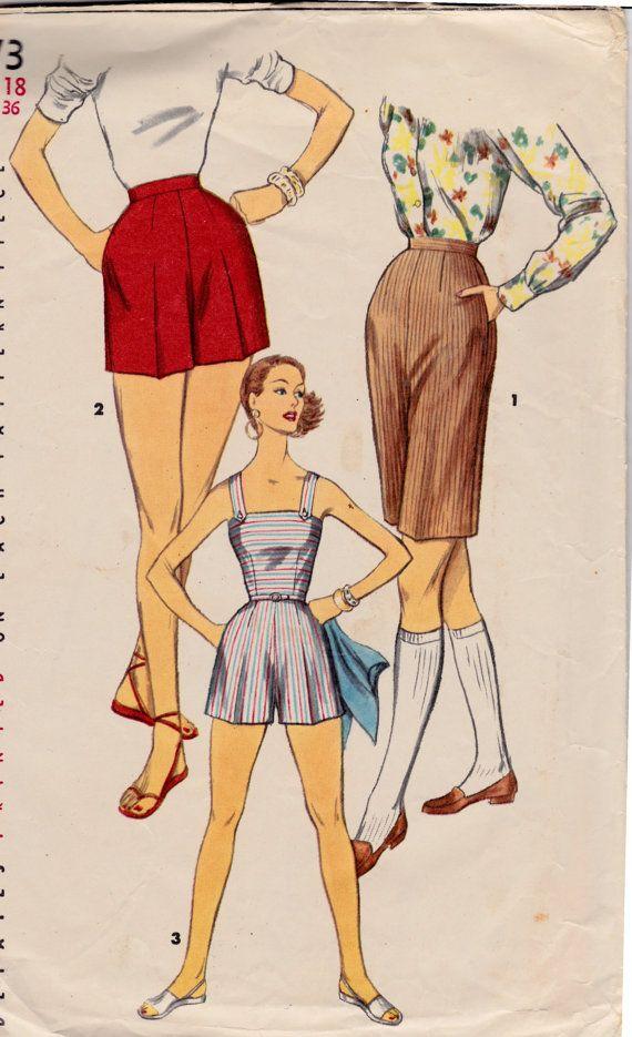 1950s Misses\' Jumpsuit Playsuit & Shorts Simplicity 1173 Vintage ...