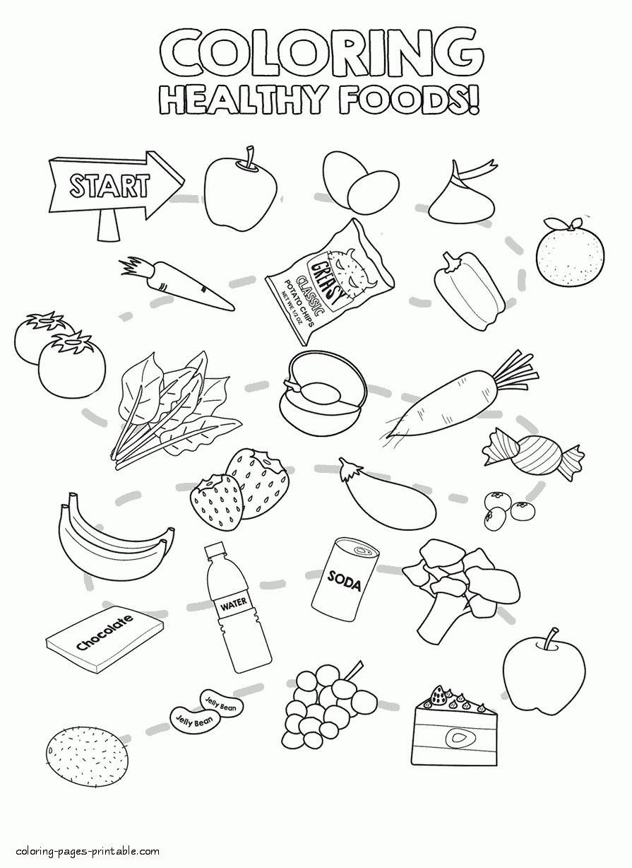 Healthy Food Coloring Pages Healthy Food Coloring Pages 2019