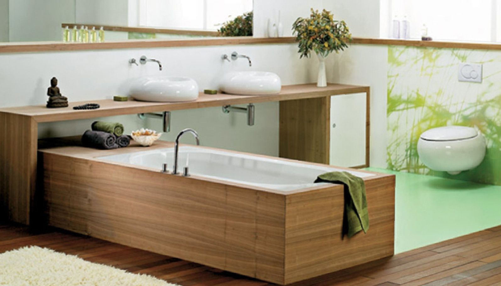 This woodframed bathtub has an inviting saunalike feel about it