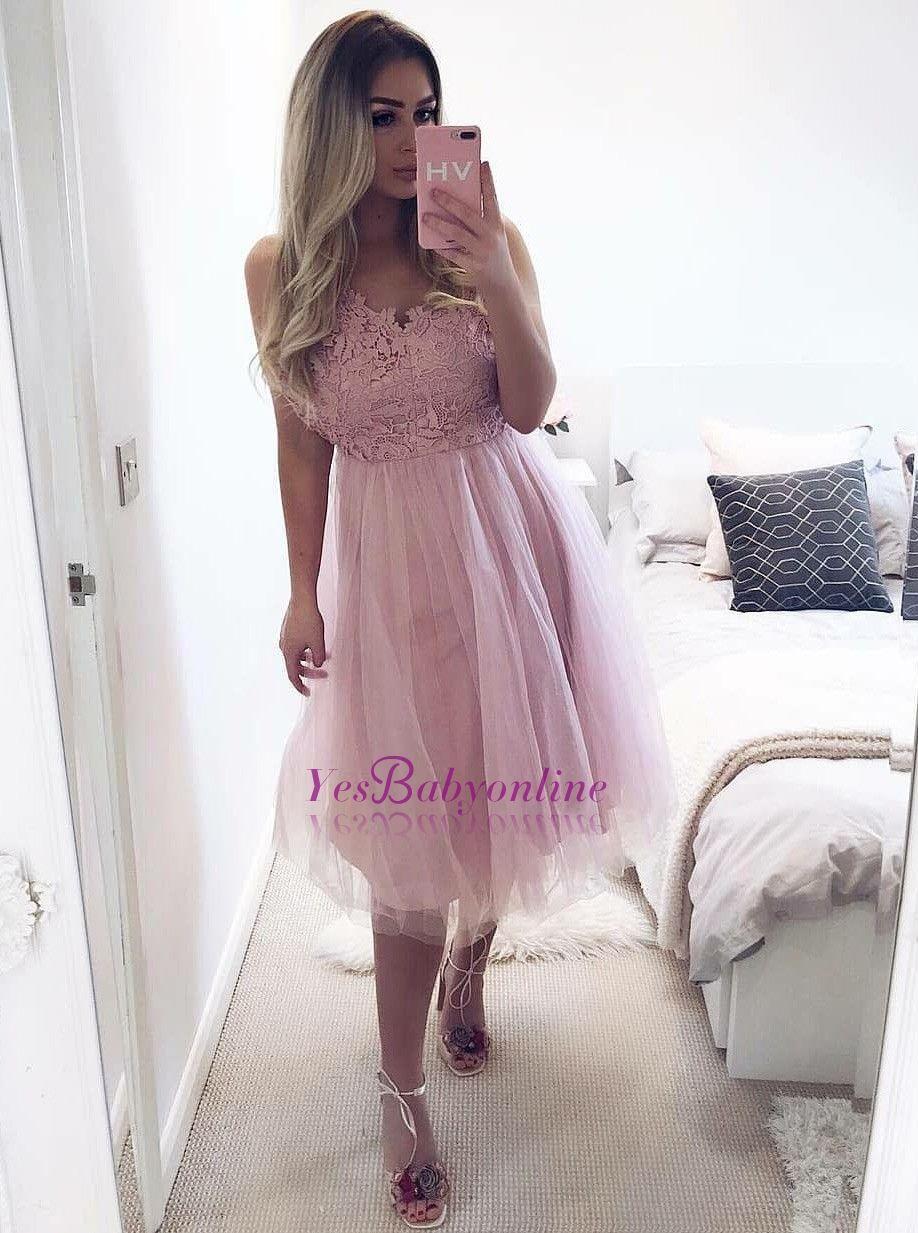 Elegant sleeveless homecoming dresses aline short tulle prom