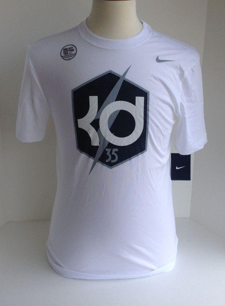 80fd91b51495 New Nike mens KD 35 Kevin Durant Dri Fit tee shirt tshirt S M XL XXL White  Logo  Nike  TShirt