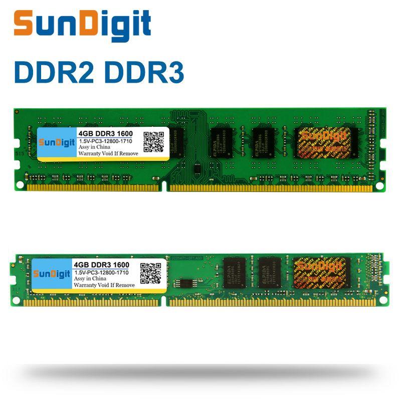 SunDigit DDR 2 3 DDR2 DDR3 PC2 PC3 1 GB 4 8 16 Computer Desktop PC RAM Geheugen 12800 1600 MHz 1333 800