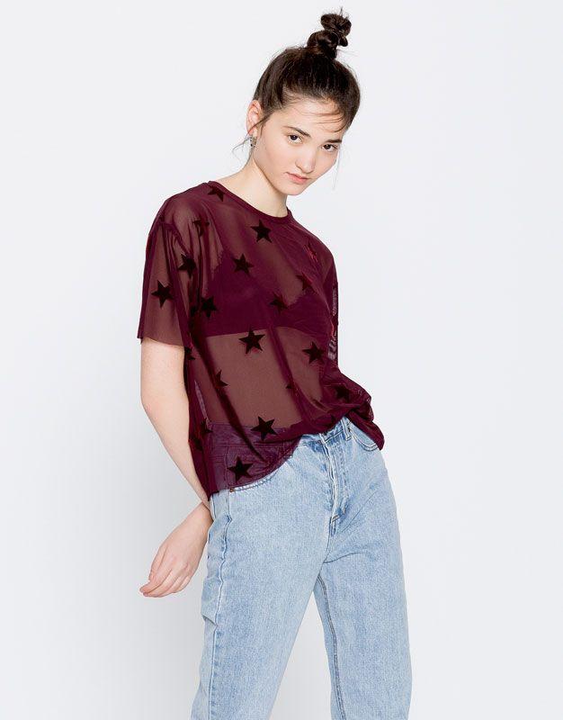 337615e15c Pull Bear - mujer - trends -  pullandbearhouse - camiseta tul estrellas -  vino - 09246372-I2016