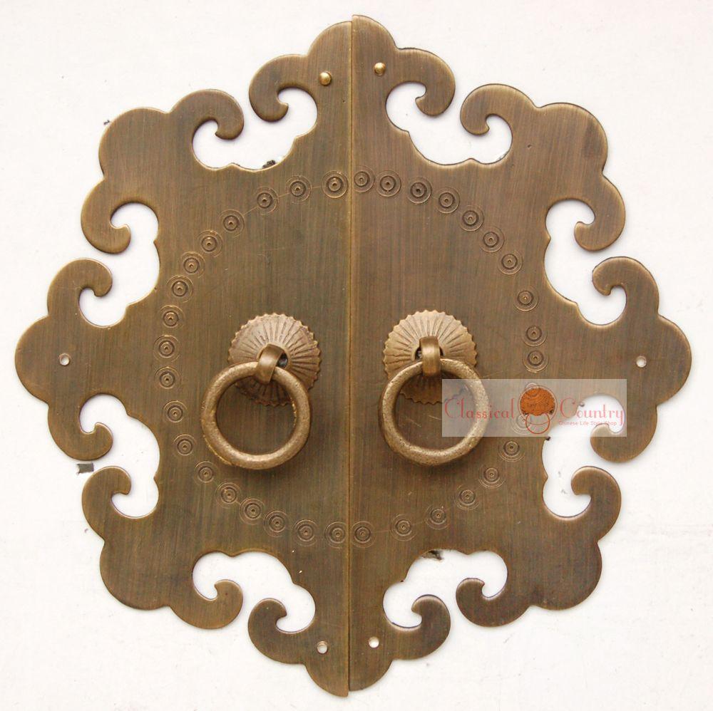Antique 12 cm Cobre Gabinete Puerta Tirador de cobre para el chino ...