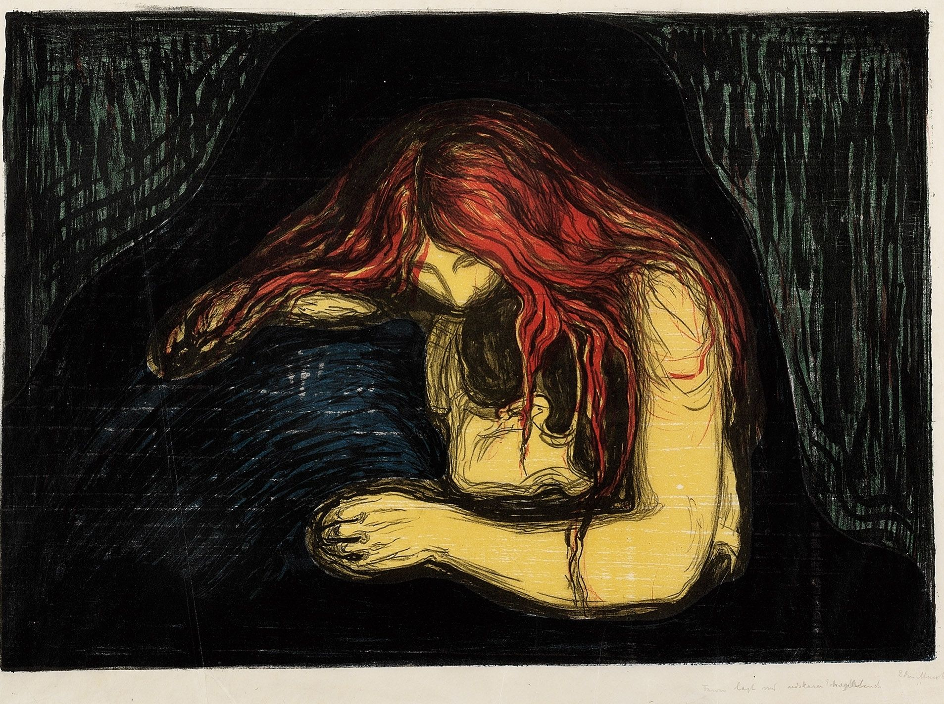 Munch, Edvard (1863-1944) Vampire IIColour lithograph and colour woodcut printed in black, red (lithograph), blue, green, orange (woodcut) on thin Japan paper. Very strong colours,  Sheet: 504x587-595 mm Image: 385x554 mm Signed twice in pencil lower right: Edv. Munch