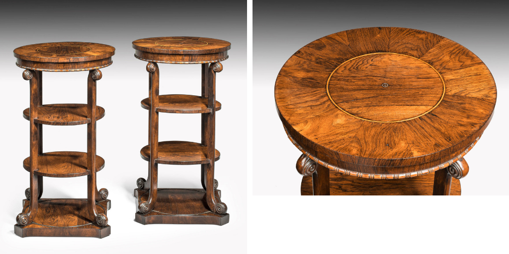 pair of regency period mahogany etageres of finely figured