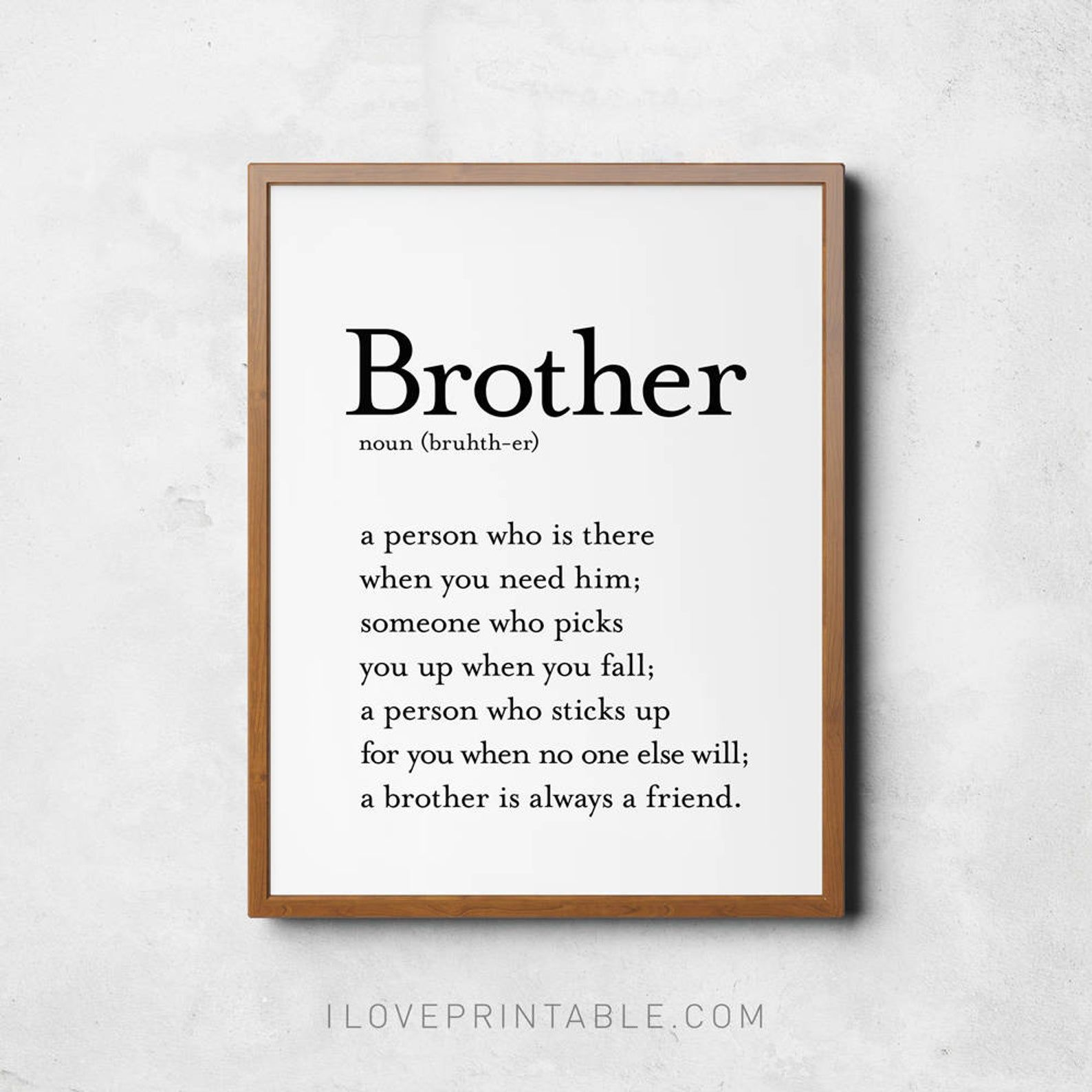Brother sign, Brother definition sign, Definition wall art