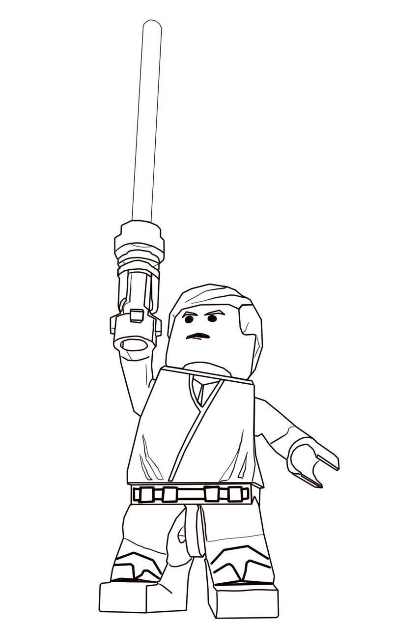 Luke Skywalker Lego Star Wars Coloring Pages Halaman Mewarnai Chewbacca Star Wars