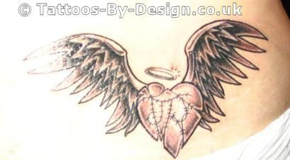 Black Angel Wing With Broken Halo Tattoos Tattoo Of Mended Angel