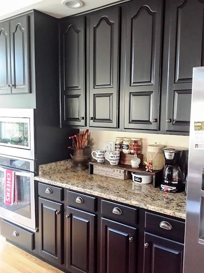 Here S A Quick And Easy Diy Project Painting Your Kitchen Cabinets Black Kitchen Cabinets Makeover Black Kitchen Cabinets New Kitchen Cabinets