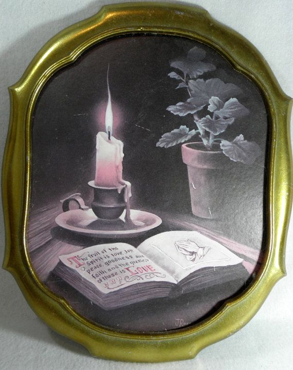 very old vintage home interiors candle and bible wall art with gilt frame by newprairiestore