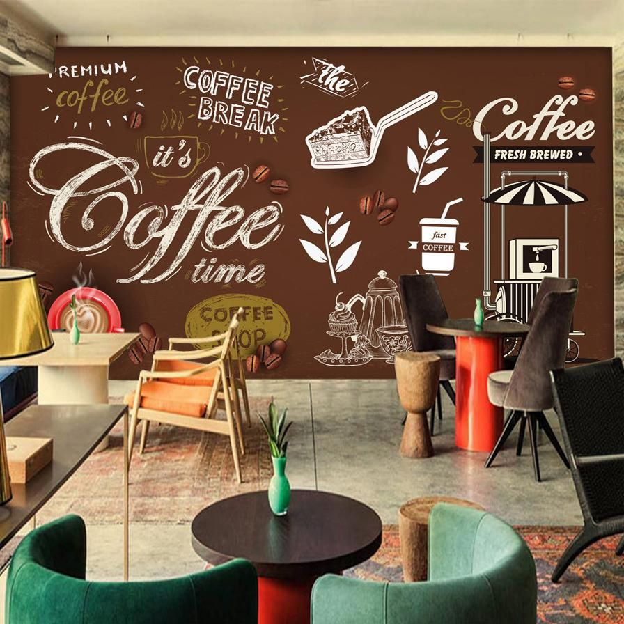 Retro Style Wallpaper Mural For Cafe Restaurant Coffee Shop