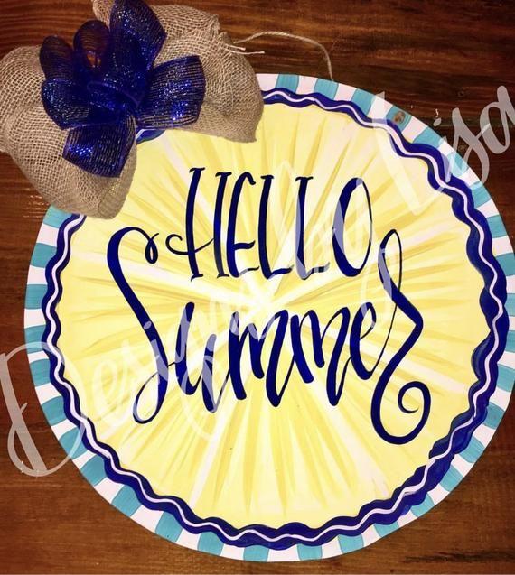 Round Hello Summer Door Hanger Summer Door Hanger Door Hangers Hello Summer