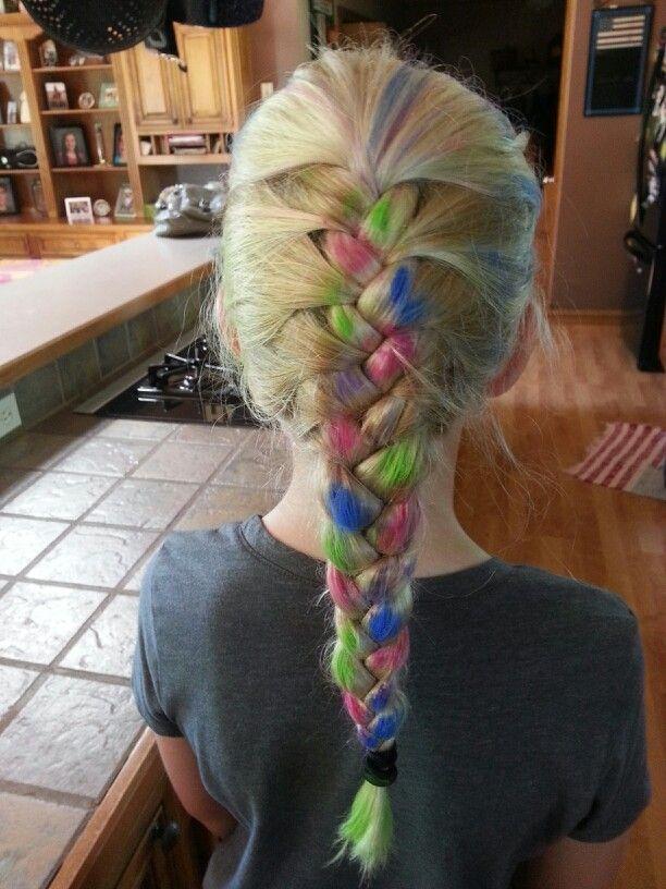 Hair Chalk Fun In A Blonde French Braid Hair Chalk French