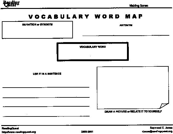 Image Result For Vocabulary Concept Map  Reading Riting