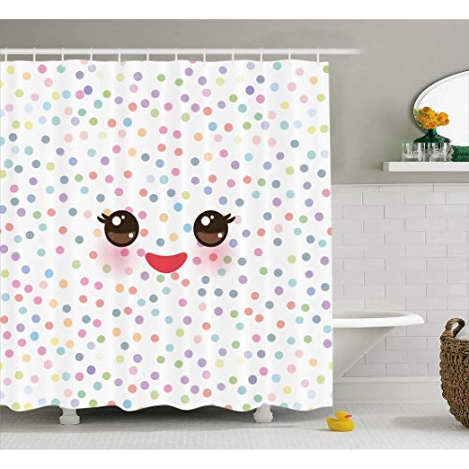Ambesonne Eyelash Shower Curtain Kawaii Funny Muzzle With Pink