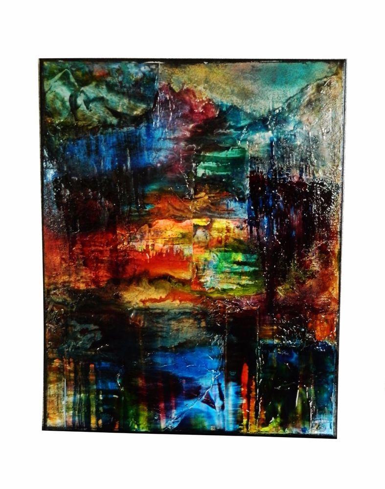 tableau abstrait peinture acrylique et vitrail sur toile eclaircie m conil toile. Black Bedroom Furniture Sets. Home Design Ideas