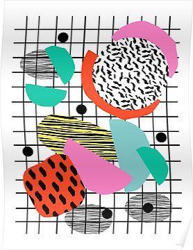 Posse - 1980's style throwback retro neon grid pattern shapes 80's memphis design neon pop ar Poster #memphisdesign