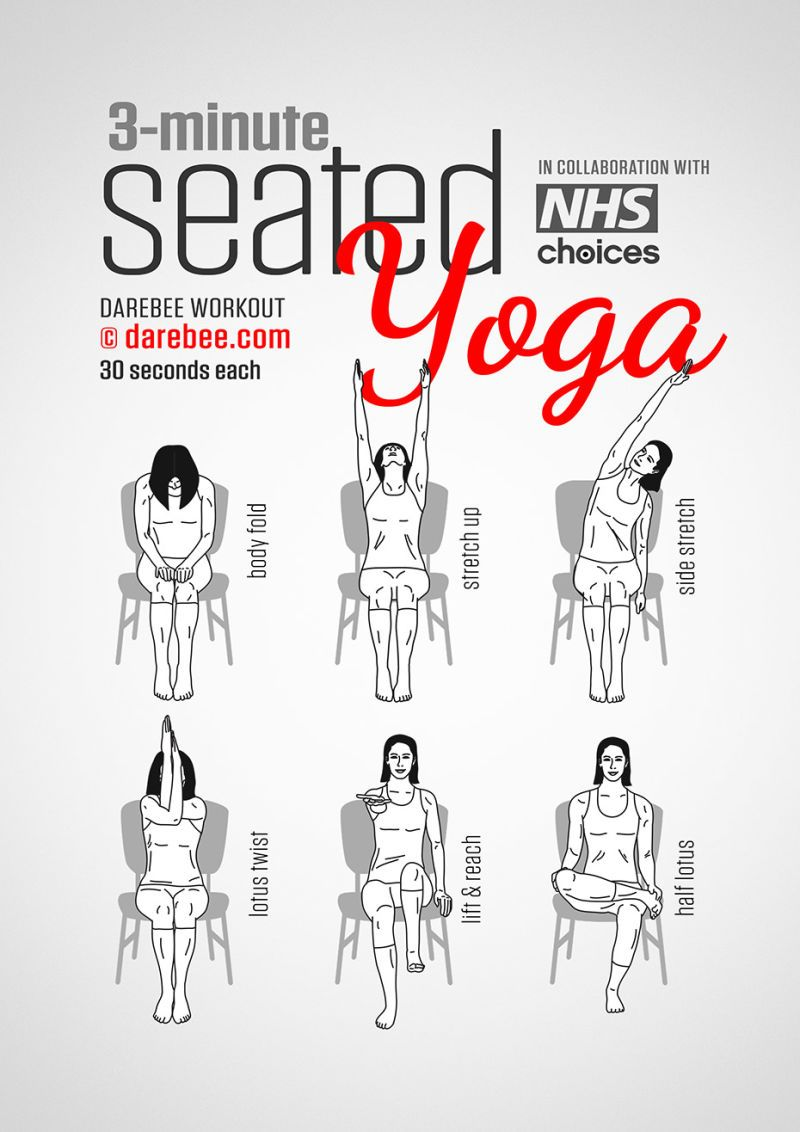 A Three Minute Yoga Exercise Routine You Can Do While Sitting At Work Yoga Voor Beginners Stoel Yoga Nekoefeningen