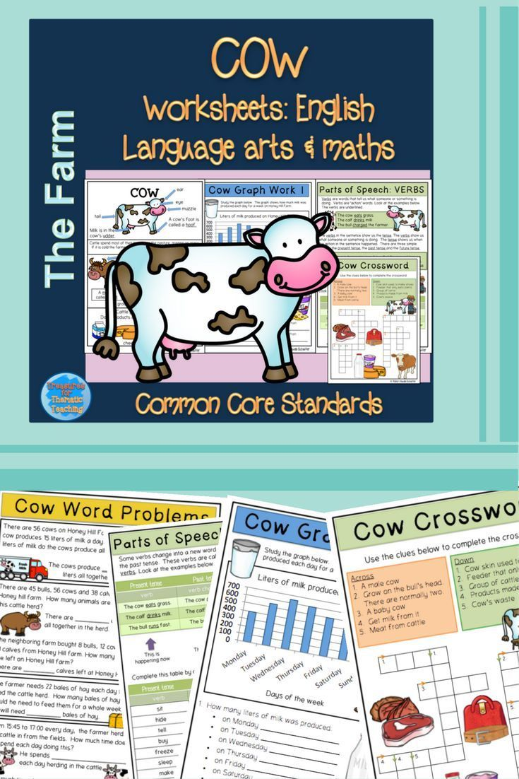 Farm animals: Cow themed english and mathematics worksheets and ...