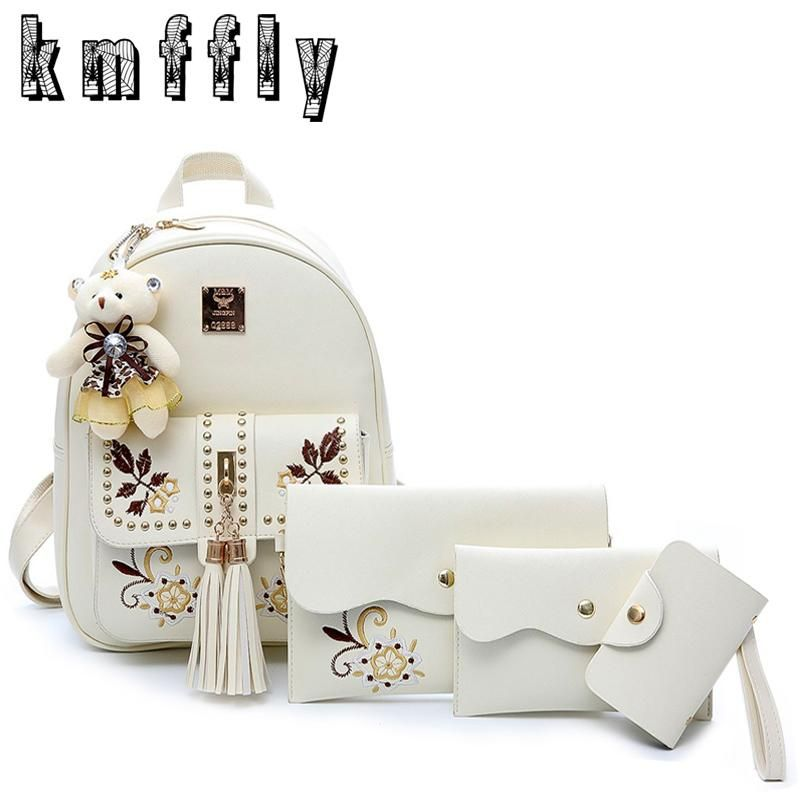 905bfa4992 Fashion Embroidery Backpack Women Pu Leather Back Pack Famous Brand School  Bags for Girls sac a dos femme with Purse and Bear