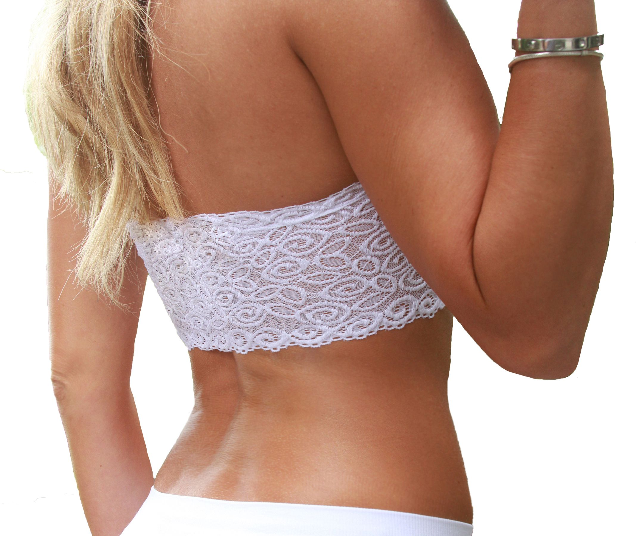 Coobie Bra Strapless Bandeau Lace Back in White | Fitness Wear ...